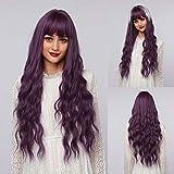 Peluca de mujer natural ondulada púrpura de 26 pulgadas de largo, peluca de pelo sintético rizado púrpura largo para mujeres de uso diario o fiesta de disfraces