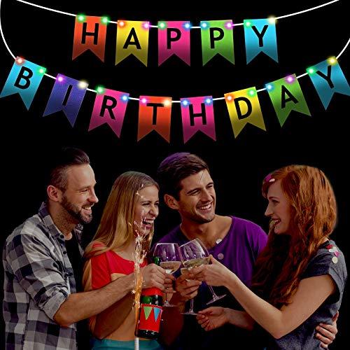 Banner de Happy Birthday con Cadena de Luces LED y 4 Ganchos Autoadhesivos Guirnalda de Banderines de Cumpleaños con Luces Funciona con Pilas para Decoración de Fiesta