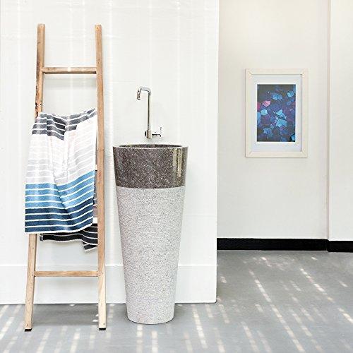 Wohnfreuden Marmer stand-wastafel Tulip 45 x 80 cm ✓ groot rond grijs gehamerd ✓ natuursteen wastafel wastafel wastafel steenwasschaal natuursteen opzetwastafel voor je badkamer ✓ incl. techn. Tekening ✓ snel en zonder verzendkosten