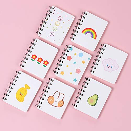 Cuaderno de Bolsillo, XiYee 8 Piezas Portátil Mini Hoja de Cuaderno, Patrón de Dibujos Animados Lindo, Bonito Diario, Cuaderno de Para Suministros de Oficina