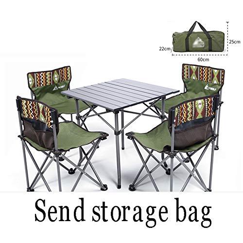 XUMINGZDY Opklapbare tafel en stoel voor buiten, draagbare lichte picknick- en stoelen, zelfrijdend veld aluminiumlegering, grill wilde, campingtafel