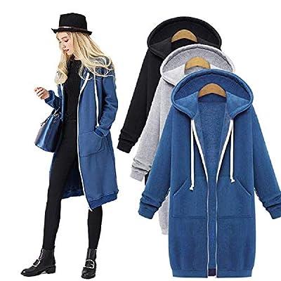 YUESUO Women's Casual Coat Loose Zip up Long Hoodies Sweatshirt Outerwear Jacket Tunic Coat with Pockets