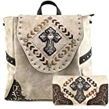 Zelris Western Country Cross Chevron Design Square Rucksack Backpack with Matching Wallet Set (Beige Brown)