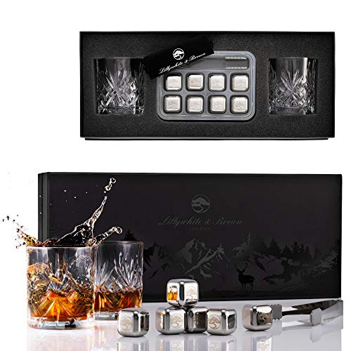 Lillywhite & Brown London Set di Bicchieri di Whisky di Cristallo, 2 Bicchieri Stile Cristallo Classico, 310 ml, con Accessori Acciaio Inox