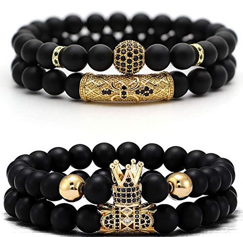 JEWPARK 4 Pcs Crown King Bracelets for Men Black Matte Onyx Cool Natural Stone Bracelets Set G