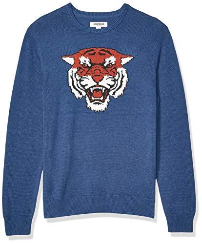 Amazon Brand - Goodthreads Men's Soft Cotton Graphic Crewneck Sweater, Cougar Medium