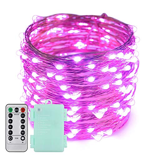 Erchen Battery Operated LED Fairy Lights, 66 FT 200 LED Dimmable Copper Wire LED String Lights with 13 Key Remote Control 8 Model Timer for Indoor and Outdoor Christmas Party (Purple)