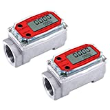 SPORBA Fuel Flowmeter, Digital Turbine Flowmeter with NPT Counter Gas Oil Fuel Flowmeter Measure Diesel Kerosene Gasoline 1 Inch(Red)