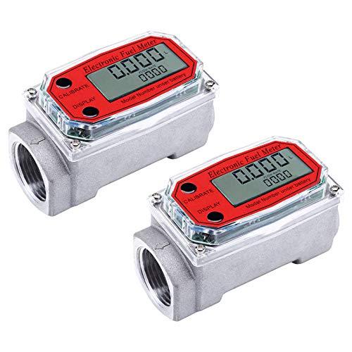 SPORBA Fuel Flowmeter, Digital Turbine Flowmeter with NPT Counter Gas Oil Fuel Flowmeter Measure Diesel Kerosene Gasoline 1 Inch(Red)