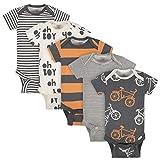 Grow by Gerber Baby Boys Organic 5-Pack Short-Sleeve Onesies Bodysuits, Grey/Ivory/Orange, 6-9 Months