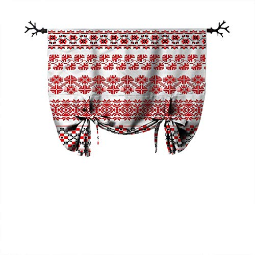 Mozenou Kitchen Roman Curtain-Ukrainian,Folkloric Art National,Ideal for Living Rooms and bedrooms,W52 xL84 One Panel