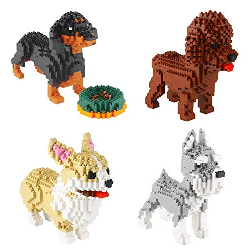 Larcele Mini Dog Building Blocks Pet Building Toy Bricks,950 Pieces KLJM-02 (Welsh Corgi,Dachshund,Schnauzer,Poodle)