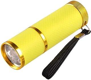 Rantoloys Mini luz de flash para LED UV Gel Lámpara de curado Luz Secador de uñas portátil Linterna de uñas 9 LED 395nm Detector de linternas UV para máscara facial
