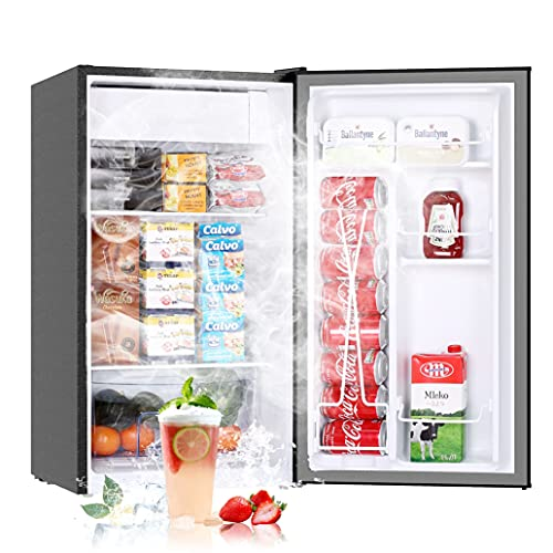 3.2 Cu.Ft Mini Fridge with Freezer, Single Door Small Refrigerator, 6 Settings Mechanical Thermostat, One-Touch Defrosting System, Energy Saving, Dorm Refrigerator Ideal for Office, Bedroom, Stainless Look