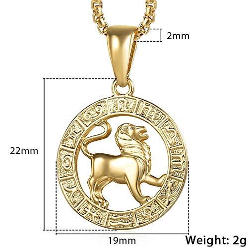Dfgh Vrouwen van mannen 12 Horoscoop Zodiac Sign gouden hanger ketting Aries Leo 12 Constellations Jewelry (Length : 22inch 55cm Chain, Metal Color : GP361 Leo)
