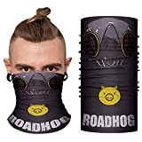 OW Roadhog Mask Bandana - Game Cosplay Seamless Neck Gaiter Half Face Cover UV Windproof Buff Motorcycle Outdoor Sports Men