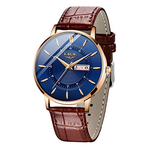 Relojes LIGE para Hombre, Reloj de Pulsera con Fecha de Cuarzo Analógico Ultrafino Resistente al Agua Relojes de Correa de Cuero Genuino Informales Simples para Hombres