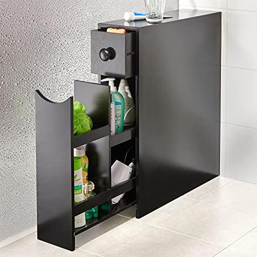 Badschrank Seitenschrank Holz Schmal Schwarz Beistellschrank Beistellkommode Badezimmer Schrank Kommode