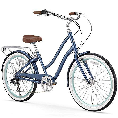 "sixthreezero EVRYjourney Women's 7-Speed Step-Through Hybrid Cruiser Bicycle, 26"" Wheels and 17.5"" Frame, Navy with Brown Seat and Grips (630035)"