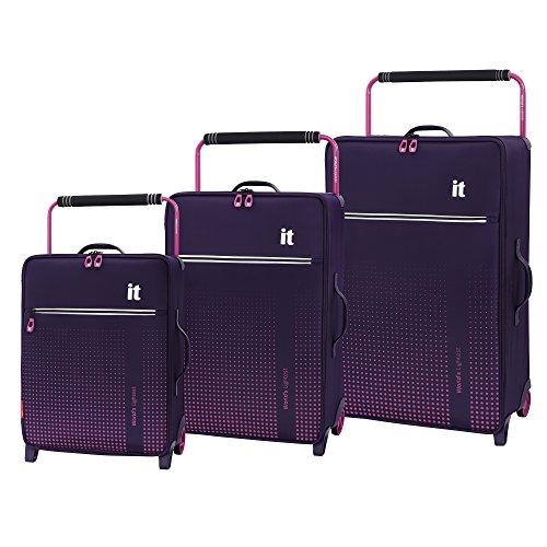 it luggage World's Lightest Vitalize 2 Wheel Super Lightweight Suitcase, Gothic Grape, 3-Piece Set