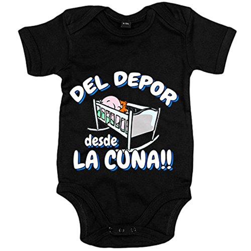Body bebé del Depor desde la cuna La Coruña fútbol - Negro, 12-18 meses