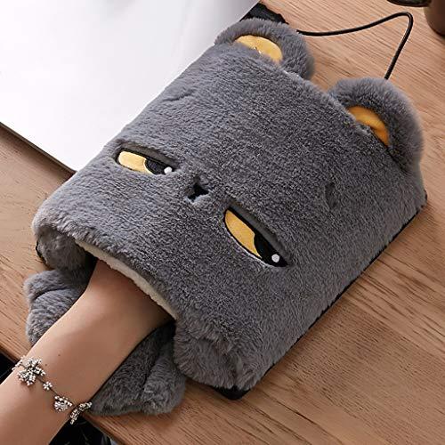 HSKB - Calentador de manos con USB, alfombrilla de ratón de felpa, calentador de manos con USB, calentador de manos para invierno, sin dedos