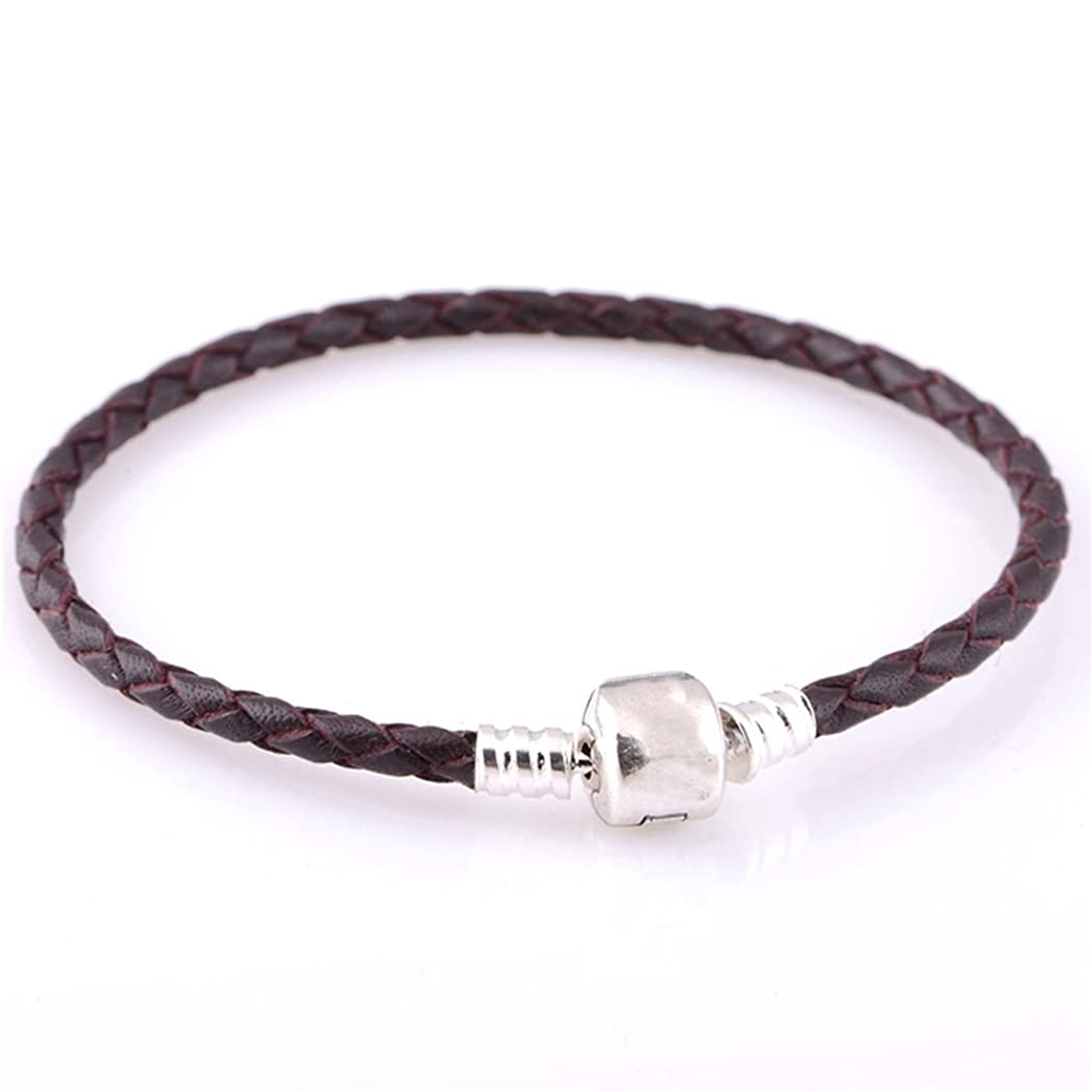 FASHICON European Fashion DIY Dark Coffee Leather Chain Bracelets with Authentic 925 Sterling Silver Clasp Clip Jewelry (18cm)