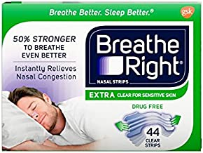 Breathe Right Extra Clear Drug-Free Nasal Strips for Nasal Congestion Relief