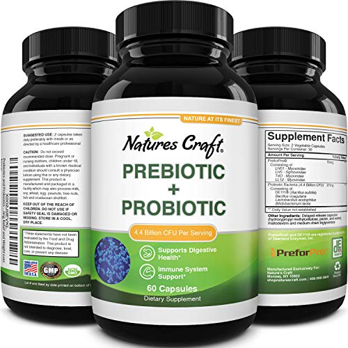 Prebiotics and Probiotics Gut Health Supplement - Acidophilus Probiotic Capsules Colon Cleanser & Detox - Pre and Probiotics for Leaky Gut Repair Bloating Relief