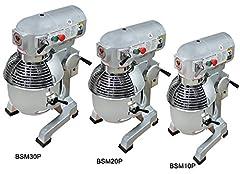Beeketal 'BSM10P' Professionele deegkneedmachine met planetaire agitator 10 liter inhoud (3 fasen 105, 170, 340 rpm), knedende machine incl. knedende haak, garde en platte roerder - zilver gelakte*