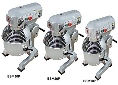 Beeketal 'BSM10P' Profi Teigknetmaschine mit Planetenrührwerk 10 Liter Kapazität (3 Stufen 105, 170, 340 U/min), Knetmaschine inkl. Knethaken, Schneebesen und Flachrührer - silber lackiert