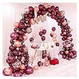 Yanqhua Globo 103 unids/Set Rose Gold Borgundy Globos Garland Arch Kit Confeti Globo cumpleaños Baby Shower Boda Fiesta decoración (Color : Burgundy Ballon Arch)