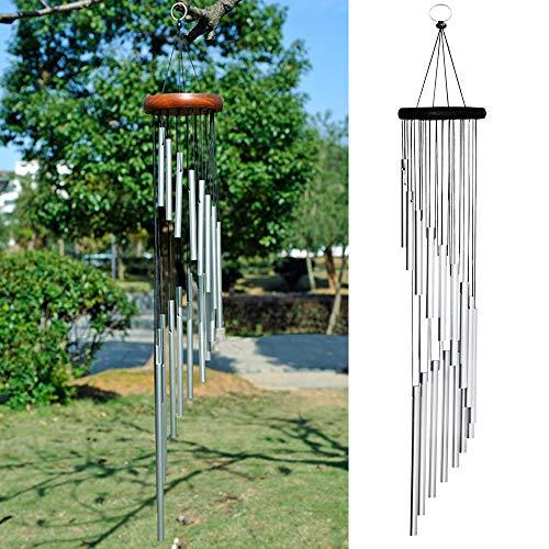 MIRACLE BLACK Klangspiele Glockenspiel Windspiele für den Garten 90cm, 18 Aluminiumlegierung Rohre Wind Bell mit, wetterfeste Geschenk für Gartenterrasse Hinterhof Home Decor Dekoration (Silber)