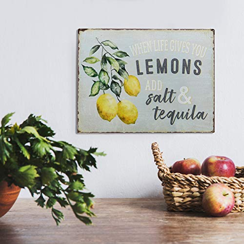 """Barnyard Designs When Life Gives You Lemons Add Salt & Tequila Funny Retro Vintage Tin Bar Sign Country Home Decor 13"""" x 10"""""""