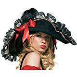 Leg Avenue Women's OS Swashbuckler Pirate Hat Costume Accessory, Lace Black, One Size