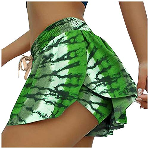 Review Workout Skirt with Shorts - Leaf Print Tropical Drawstring Short Skirt Shorts - Running Skirt...