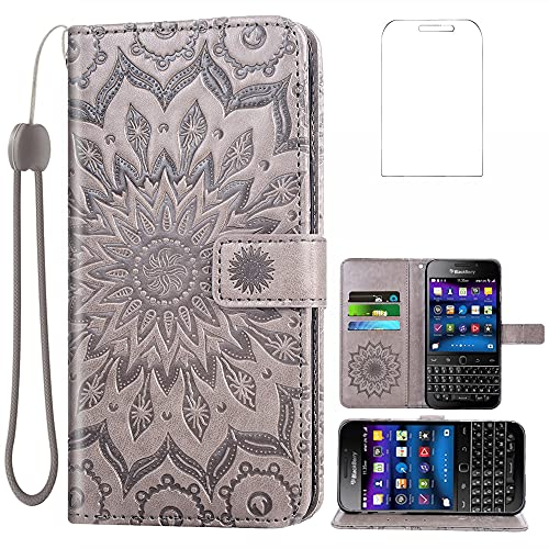 Phone Case for BlackBerry Classic/Q20/SQC100 Wallet Cases with Tempered Glass Screen Protector Leather Slim Flip Cover Card Holder Stand Cell Accessories Black Berry Smartphone Q 20 Women Men Gray