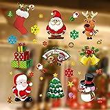 Kaishuai-Vinilos para puertas,vinilos para ventanas,decoracion navidad hogar,navidad decoración,decoración de ventanas, Papá NoelFeliz Navidad Pegatinas de Ventana Divertidos