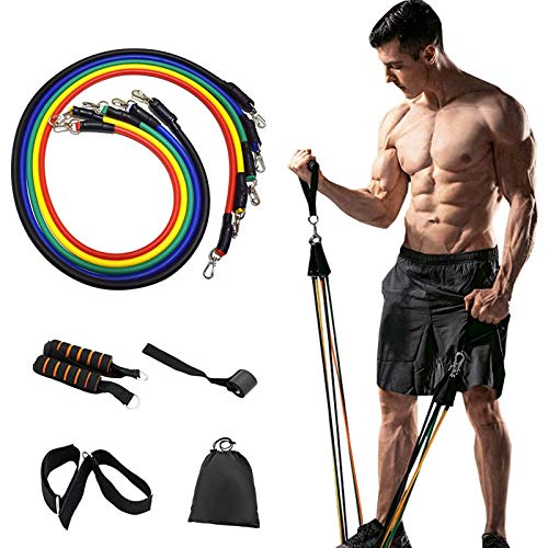 AircooL 11 Pack Resistance Bands Set,Including 5 Stackable Exercise Bands with Door Anchor,2 Foam Handle,2 Metal Foot Ring & Carrying Case - Home Workouts,Physical Therapy,Gym Training,Yoga