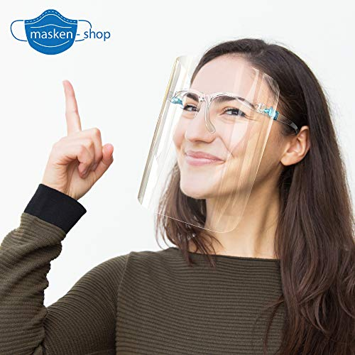 HMS Gesichtsschild Face Shield Schutzvisier Brillenschild mit Brillengestell Mundschutz klein transparent Kinnschutz Visier DIWA