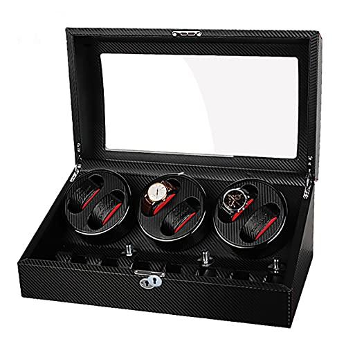 LSRRYD Caja De Enrollador De Reloj Automático, Caja De Reloj para 6+7 Relojes con Motor Silencioso Almohadas Reloj Ajustables Caja De Almacenamiento De Balancín