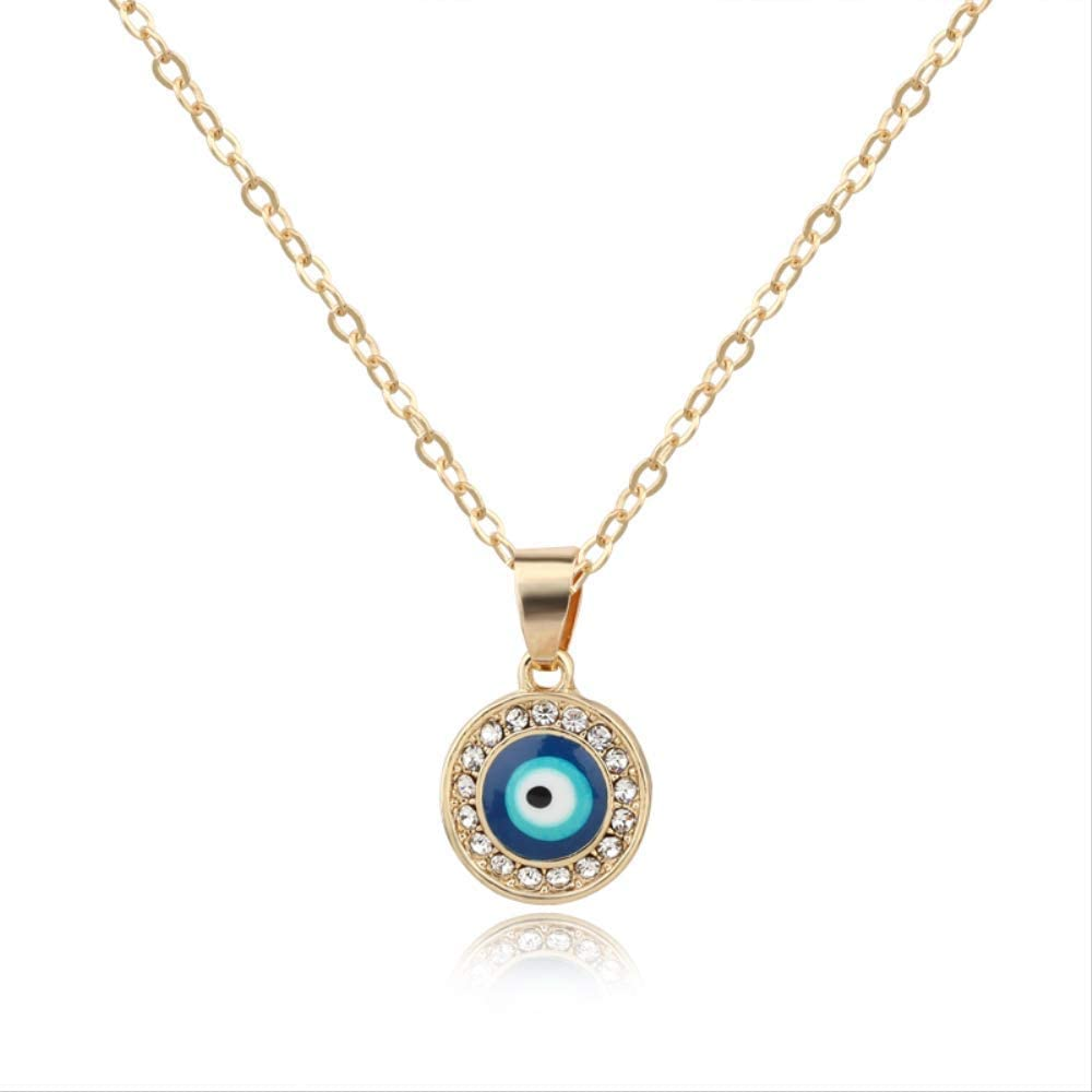 Turkish Evil Eye Moon Star Pendant Necklaces For Women Jewelry With Rhinestone Beads Collar Necklace Womens Clavicel Chain