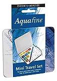 Daler Rowney D131900910 Set Metálico de Viaje de Acuarela Aquafine, con 10 Colores Surtidos (10 Medio Godets) y Pincel