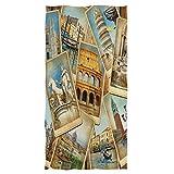 REFFW Serviettes de Bain décoratives hautement absorbantes Main pour Salle de Bain Maison hôtel Gym Spa invité Coccinelle Polyvalente Douce Grande Tour eiffelVoyage en Italie rétro Collage