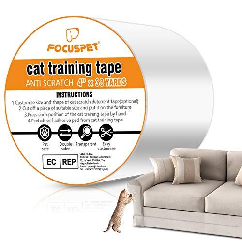 Focuspet Kratzschutz, Kratzabwehr Katzen 4''x33Yards (10cmx30m) Anti Kratz Katzen für Sofa, Tür, Möbel, Wand, Doppelseitig Transparent Katze Klebeband