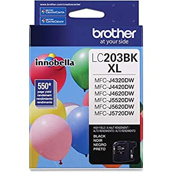 Brother Genuine High Yield Black Ink Cartridge, LC203BK, Replacement Black Ink, Page Yield Up To 550 Pages, Amazon Dash Replenishment Cartridge, LC203