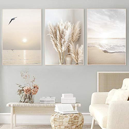 TZZXYXGS 3 Stück Wandkunst Beige Gras Sonnenuntergang Strand Palme Leinwand Malerei Nordische Poster Und Drucke Wandbilder Für Wohnzimmer Dekor Rahmenlos 50X70Cm * 3
