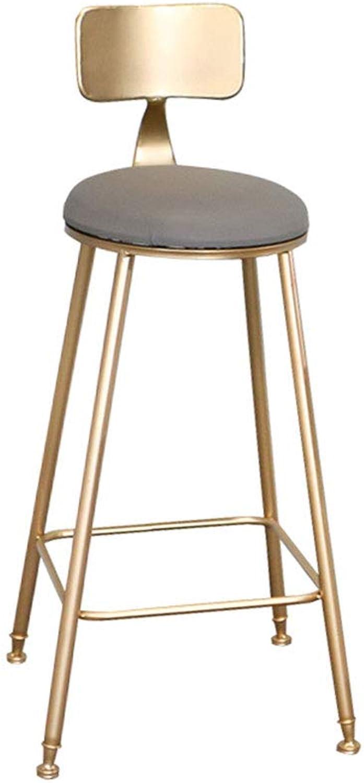 YJXJJD golden Bar Stool Home Backrest Dining Chair High Stool Modern Cafe Bar Lounge Chair (color   B, Size   45CM)