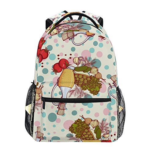 Rucksack im Vintage-Stil, Olivenöl und Gemüse, für Studenten, Schultasche, Reisen, Wandern, Camping, Laptop, Tagesrucksack