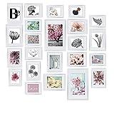 bomoe Set de 24 marcos de fotos Blossom - marcos de fotos de plástico con passepartout - 10x 10,5x15cm / 8x 13x18cm / 4x 15x20cm / 2x 20x30cm – Posición vertical y horizontal - blanco